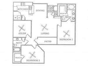 B3 - 2 Bedroom 2 Bath w/ Study