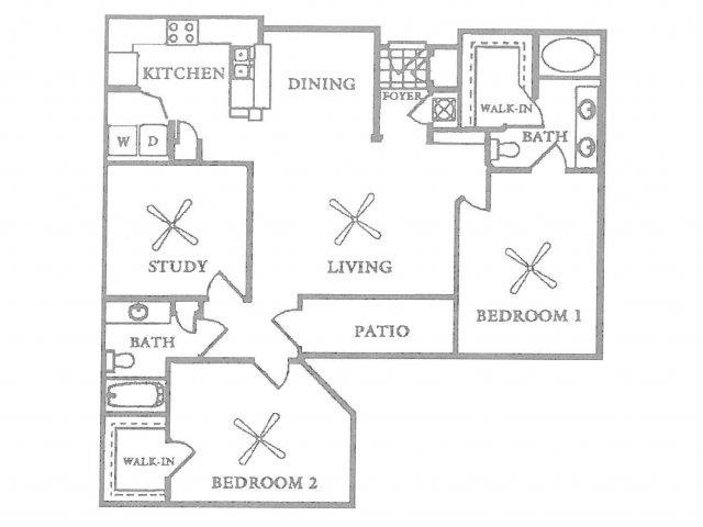 B3 - 2 Bedroom 2 Bath w/ Study Floor Plan 5