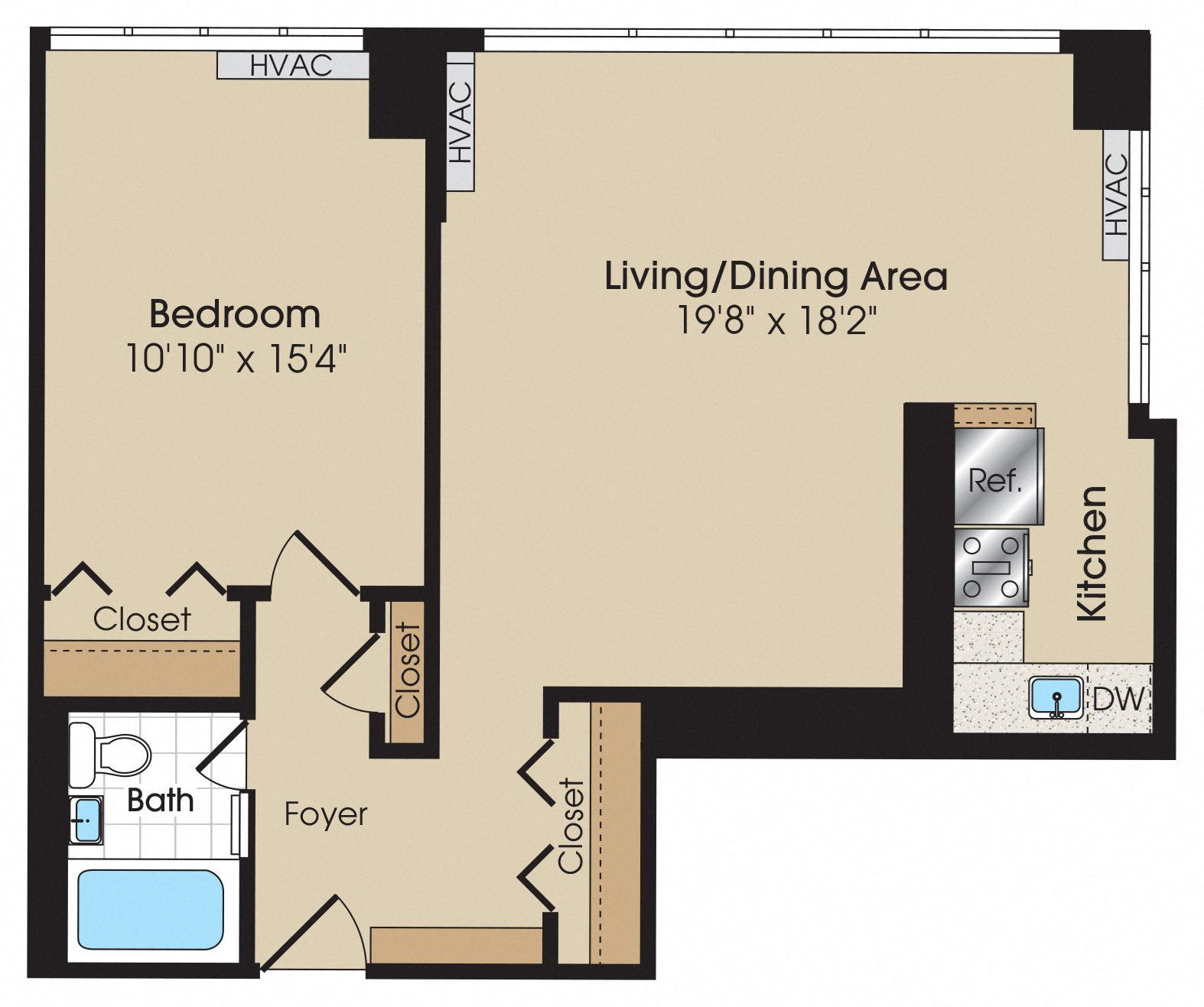 One Bedroom Studio Apartment: Studio & 1 Bedroom Apartment
