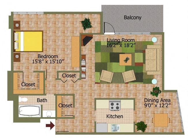 One Bed 01 Floorplan at Calvert House Apartments,Washington,DC