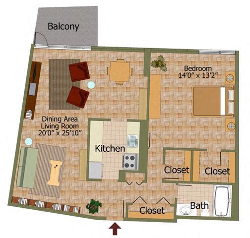 One Bed 02 Floorplan At Calvert House Apartments,Washington,DC