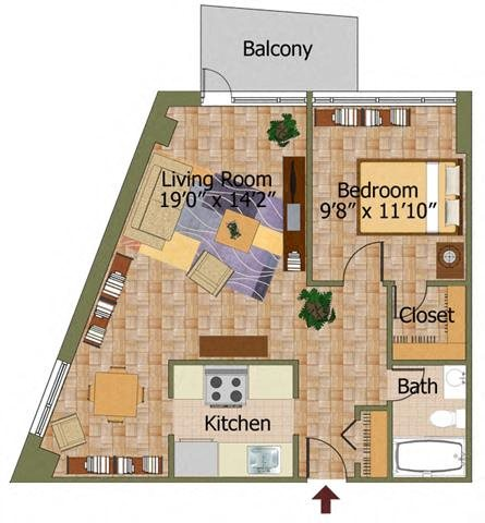 One Bed 03 Floorplan at Calvert House Apartments,Washington,DC