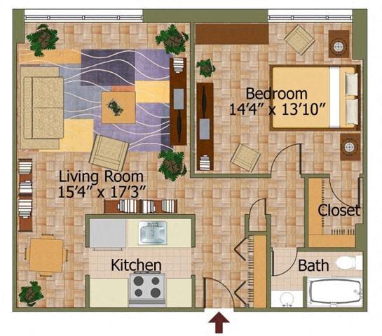 One Bed 04 Floorplan at Calvert House Apartments,Washington,DC