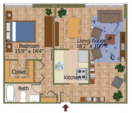 One Bed 05 Floorplan at Calvert House Apartments,Washington,DC