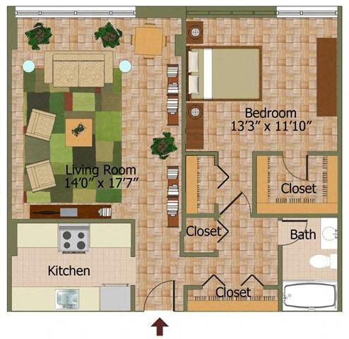 One Bed 06 Floorplan at Calvert House Apartments,Washington,DC