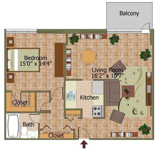 One Bed 08 Floorplan at Calvert House Apartments,Washington,DC