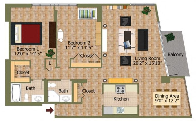 Two Bed 01 Floorplan at Calvert House Apartments,Washington,DC