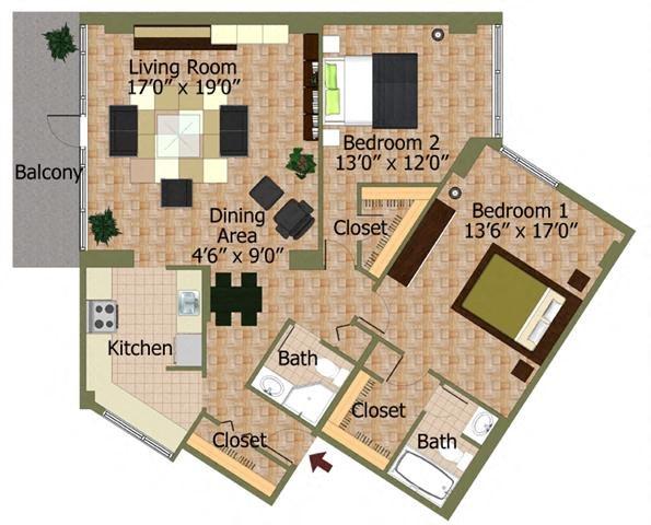 Floor Plans Calvert House Apartments In Woodley Park Washington DC - 3 bedroom apartments washington dc
