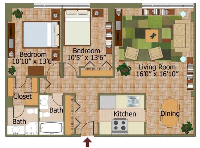 Two Bed 03 Floorplan at Calvert House Apartments,Washington,DC