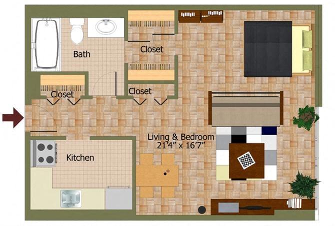 Studio02 Floorplan at Calvert House Apartments,Washington,DC