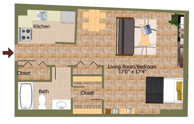 Studio03 Floorplan at Calvert House Apartments,Washington,DC