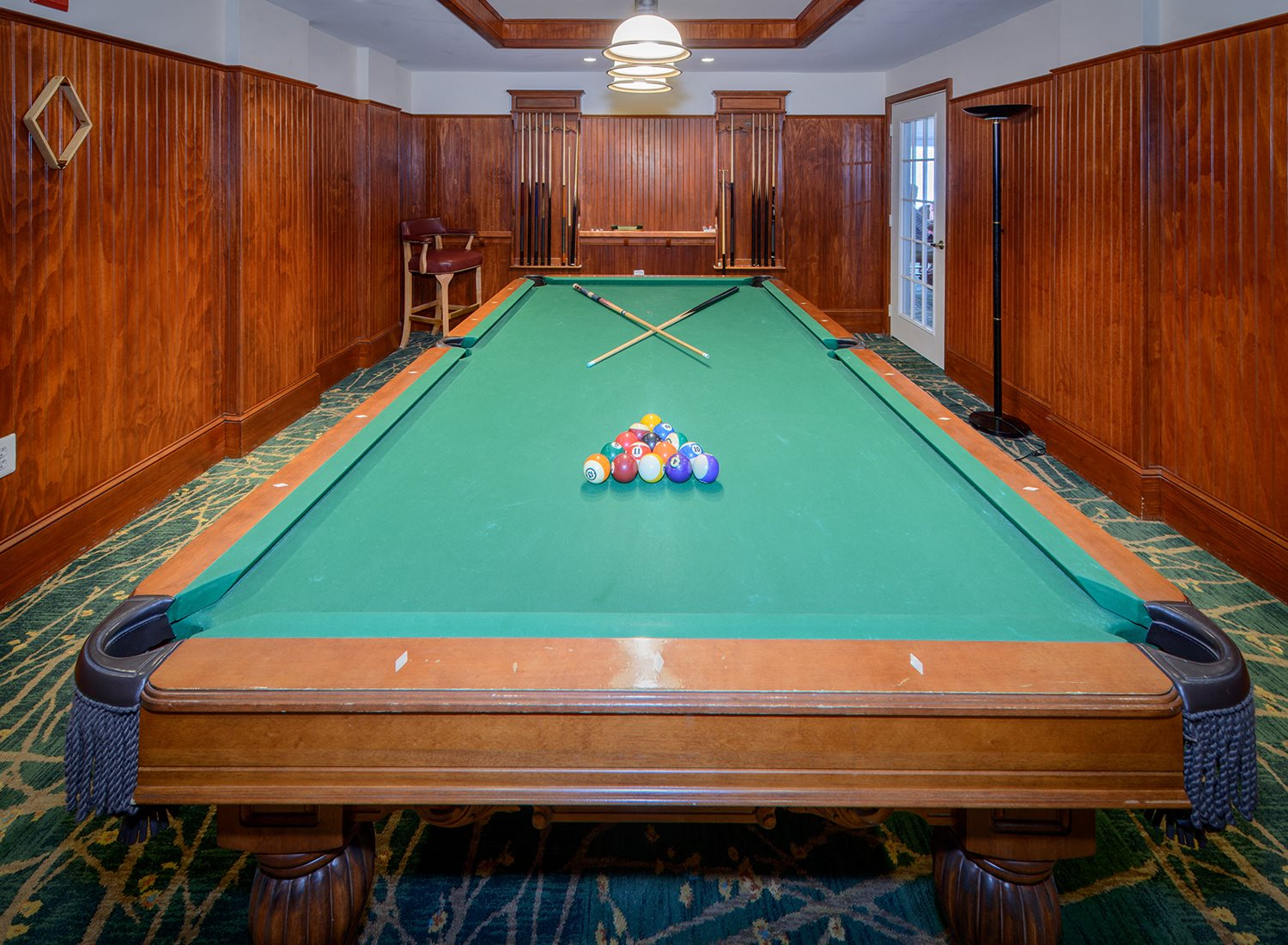 Game Room with Billiard and Pool Table at Evergreens at Smith Run, Fredericksburg, Virginia