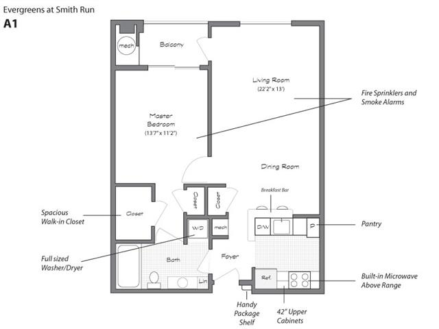 Model A1 Floorplan at Evergreens at Smith Run