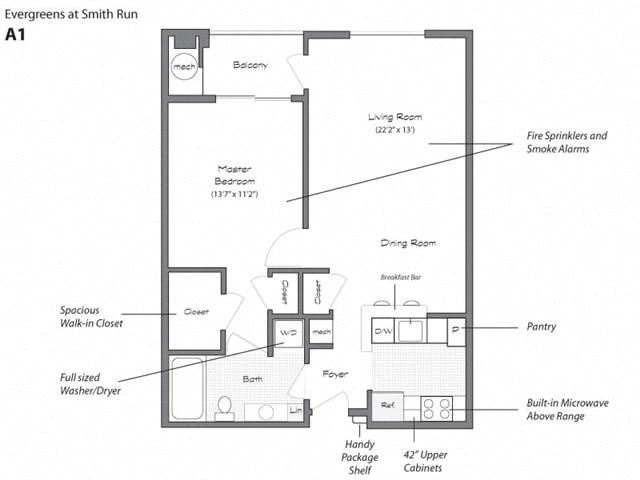 Model A1 Floorplan at Evergreens at Smith Run