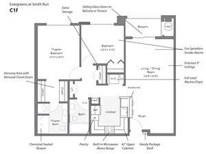 Model C1F Floorplan at Evergreens at Smith Run