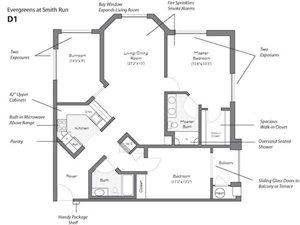 Model D1 Floorplan at Evergreens at Smith Run