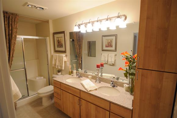 Granite Bathroom Counter Tops with Full Vanity-Width Mirrors at The Marque at Heritage Hunt, Gainesville, VA,20155