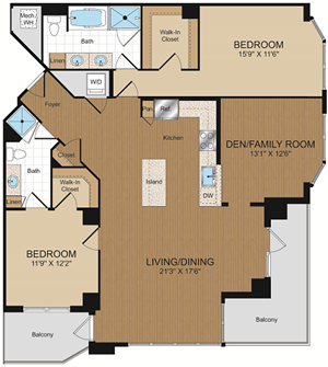 D1c-D1c1 Floorplan at Harrison at Reston Town Center