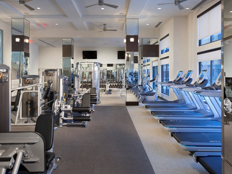 Fully outfitted fitness center at Harrison at Reston Town Center, Reston, VA, 20190