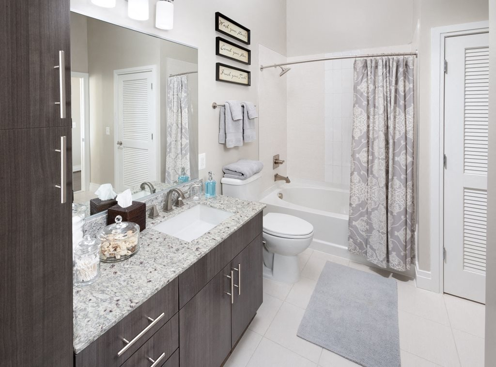 Spacious bathrooms at Harrison at Reston Town Center, Reston, VA, 20190
