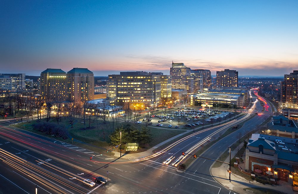 Night View at Sunset at Harrison at Reston Town Center, Reston, VA, 20190