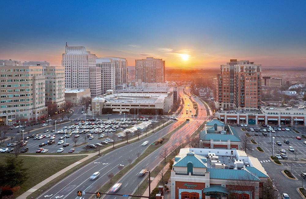 West Skyline View at Sunset at Harrison at Reston Town Center, Reston, VA, 20190