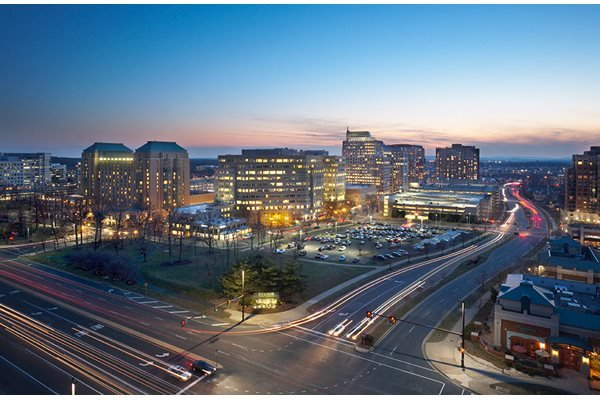 Sundeck View at night at Harrison at Reston Town Center, Reston, VA, 20190