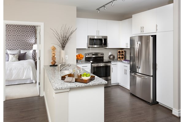 Kitchen island and Stainless Appliances at Harrison at Reston Town Center, Reston, VA, 20190