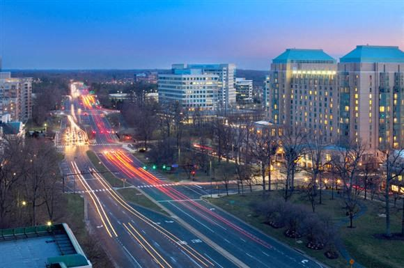 Southwest View at Night at Harrison at Reston Town Center, Reston, VA, 20190
