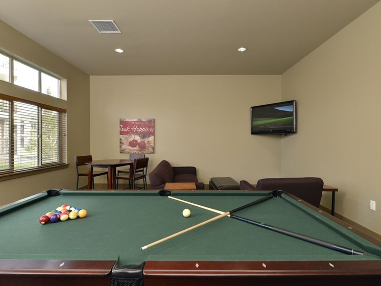 Pool table and TV Colorado Springs, CO Rentals | Copper Creek Apartments