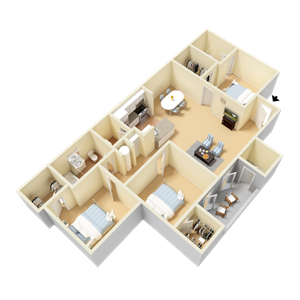 Umstead Floor Plan at Clarion Crossing Apartments in West Raleigh