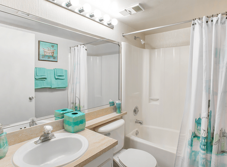 Village Crossing apartment model suite bathroom in West Palm Beach, Florida