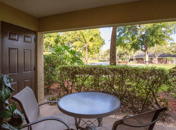 Village Crossing apartment model suite patio in West Palm Beach, Florida