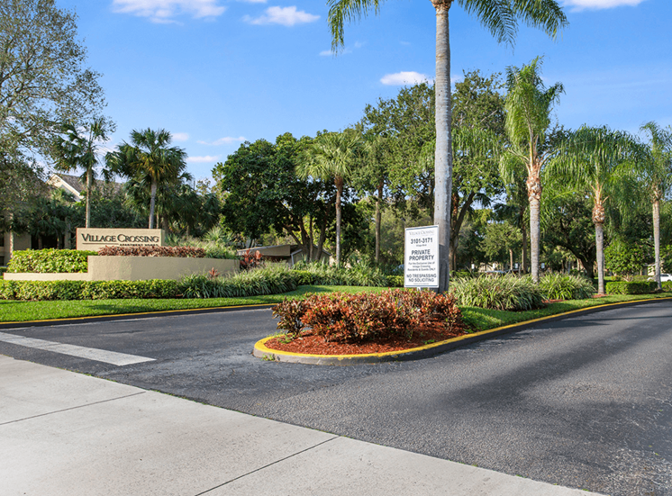 Entrance to Village Crossing in West Palm Beach, Florida