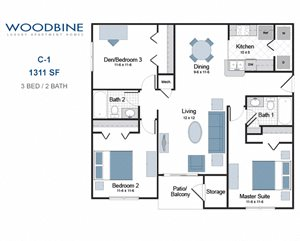 C-1 three bedroom apartment for rent