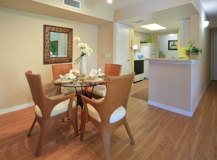 Woodbine apartment model suite dining area in Riviera Beach, Florida