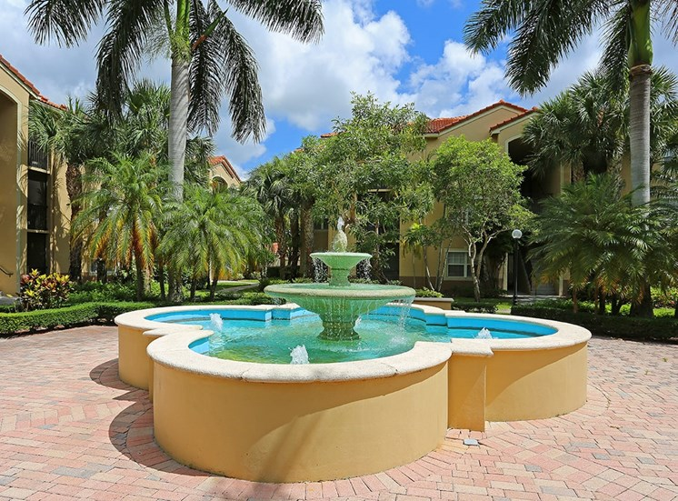 Woodbine apartments courtyard fountain in Riviera Beach, Florida