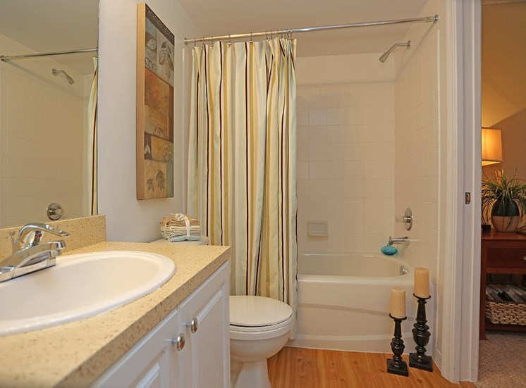 Woodbine apartment model suite bathroom in Riviera Beach, Florida