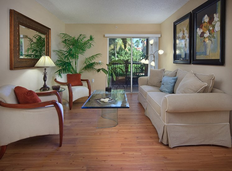 Woodbine apartment model suite living room in Riviera Beach, Florida