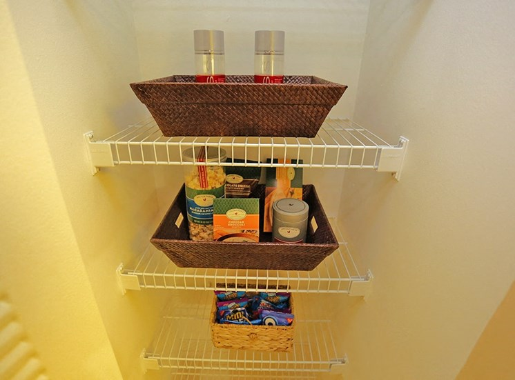 Woodbine apartment model suite pantry in Riviera Beach, Florida