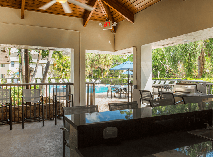 Blue Isle apartments poolside pavilion in Coconut Creek, Florida