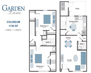 Coliseum two bedroom townhouse for rent