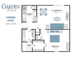 Cypress one bedroom apartment for rent