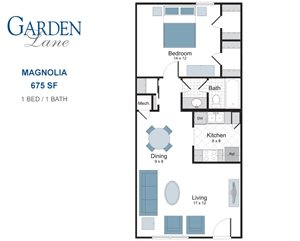 Magnolia one bedroom apartment for rent