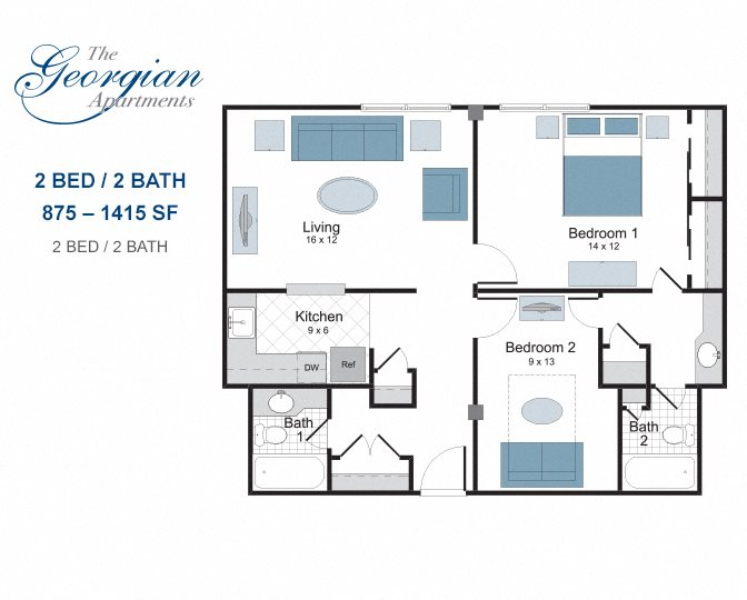 The georgian one and two bedroom apartments in new orleans - 2 bedroom apartments new orleans ...