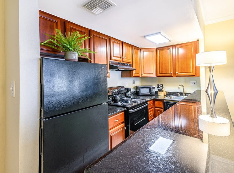 Studio apartment kitchen with granite countertops at The Georgian in New Orleans