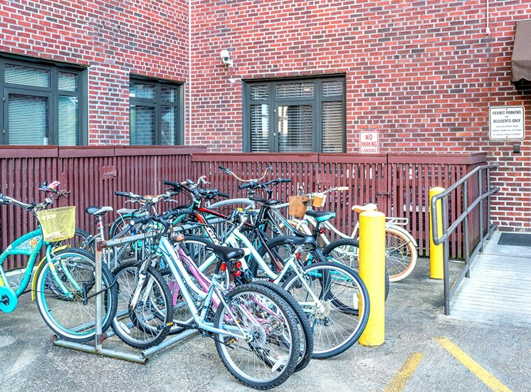 Park your bike on the bike rack in The Georgian's controlled access parking lot