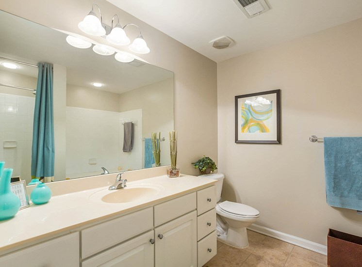 Bright, spacious bathrooms at The Savoy Apartment Homes in Atlanta