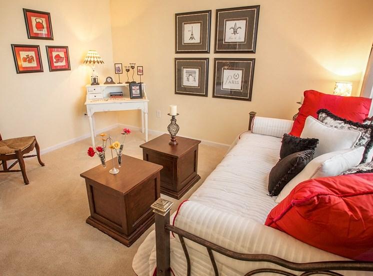Barrett Walk model suite bedroom in Kennesaw, GA