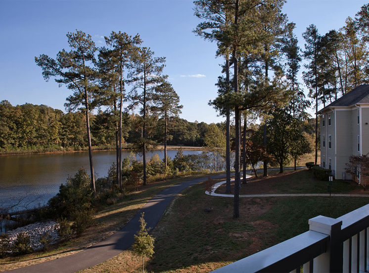 The Lodge at Crossroads apartment balcony lake view in Cary, North Carolina